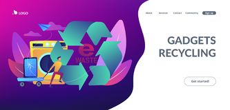 E-waste reduction concept landing page. Businessman taking old smartphone in cart to electronic waste recycling. E-waste reduction, electronics trade-in royalty free illustration