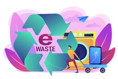 E-waste reduction concept vector illustration. Businessman taking old smartphone in cart to electronic waste recycling. E-waste reduction, electronics trade-in stock illustration