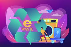 E-waste reduction concept vector illustration. Businessman taking old smartphone in cart to electronic waste recycling. E-waste reduction, electronics trade-in vector illustration