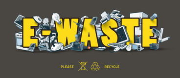 E-waste Sign With Electronic Devices Stock Image