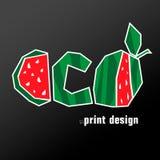 E Watermeloenvector ecodesign op een zwarte achtergrond vector illustratie