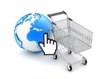 E-winkelt - de illustratie van het Concept Stock Fotografie