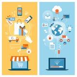 E-winkelt en Internet royalty-vrije illustratie