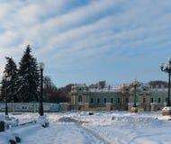 E Zima śnieg rano słońce Zdjęcia Royalty Free