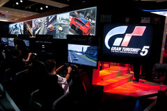 E3 2010, Sony, der Gran Turismo 5 einführt Stockbild