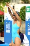 Ea7. MILAN, ITALY - SEPT 20: Teresa Alshammar  swimming champion during the performance september 20, 2008 in Milan, ITALY Royalty Free Stock Photos