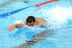 Ea7. MILAN, ITALY - SEPT 20:  Alessandro Calvi swimming champion during the performance september 20, 2008 in Milan, ITALY Stock Photography