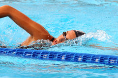 Ea7. MILAN, ITALY - SEPT 20:  Alessia Filippi swimming champion during the performance september 20, 2008 in Milan, ITALY Royalty Free Stock Photo