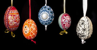 Easter eggs hanging Stock Photos