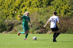 Eabha O`Mahony at the Women`s National League game: Cork City FC vs Galway WFC. May 12th, 2019, Cork, Ireland - Eabha O`Mahony at the Women`s National League royalty free stock image