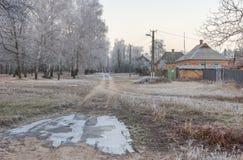 Eaceful早晨在小乌克兰村庄 库存照片