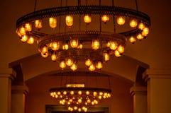 Beautiful lights in hotel reception, Egypt. stock photo