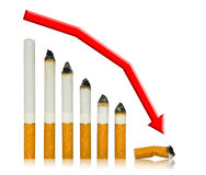 With each cigarette graph of your life steeper Stock Image