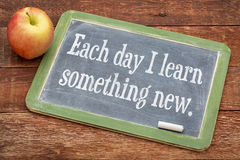 Each day I learn something new on blackboard. Each day I learn something new - positive words on a slate blackboard against red barn wood with apple Stock Images