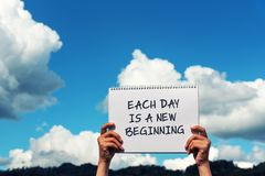 Each day is a new beginning stock images