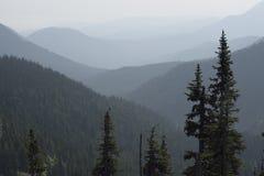 Wildfire haze east of the Bailey Range, Olympic National Park, Washington royalty free stock images