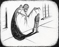 We Are Each Our Own Devil. A young man on a lonely street is stalked by a monster from his own shadow. Pen & ink illustration based on the idea of struggling Stock Images