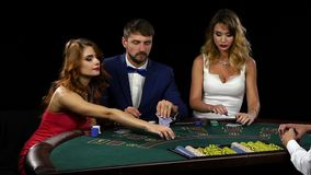 Each player assesses its chances to win and makes bet stock video footage