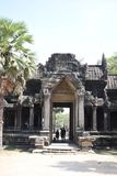 The Elephant Gate at Angkor Wat. Each stone weighing a few tons, raised to 10-15 meters to be fitted into its place, not shifted a millimeter till date from its royalty free stock photography