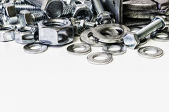 Each threaded fasteners bolts nuts and key. Stock Photos
