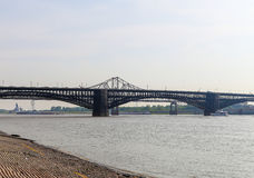 Eads Bridge. St. Louis, USA - May 26, 2014: The Eads Bridge across the Mississippi River, connecting St. Louis, Missouri with East St. Louis, Illinois. In the Stock Images