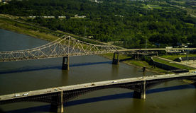 Eads and Dr. Martin Luther King Bridge in St. Louis, MO. Royalty Free Stock Images
