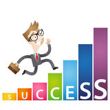 Eager cartoon businessman growing income chart success Stock Photos