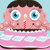 Eager child with birthday cake Royalty Free Stock Images