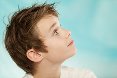 Eager handsome young boy looking up Royalty Free Stock Images