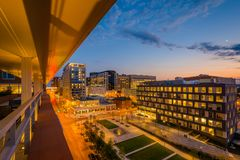 Eager Park and Johns Hopkins Hospital at night, in Baltimore, Maryland.  stock photos