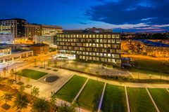 Eager Park and Johns Hopkins Hospital at night, in Baltimore, Maryland.  stock photo