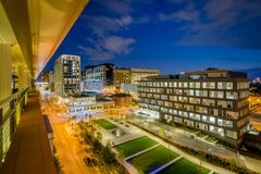 Eager Park and Johns Hopkins Hospital at night, in Baltimore, Maryland.  royalty free stock photography