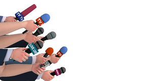Eager reporters with microphones, side view, 3D animation, alpha channel