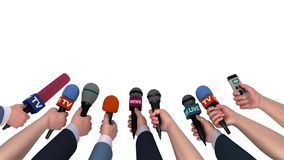 Eager reporters with microphones in their hands, 3D animation, alpha channel. Computer-generated footage on the Mass Media theme stock video footage