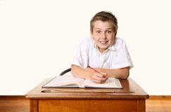 Eager school student. Eager happy school student Stock Photo