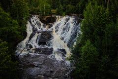 Eagle河瀑布在密执安 库存图片