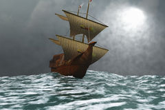 The Eagle. A sailing vessel navigates the ocean waves in stormy weather Royalty Free Stock Photos