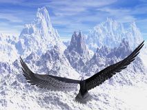 Eagle. An eagle flight against white snowy mountains stock photography