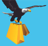 Eagle. Illustration of Eagle  flying with shopping bag Royalty Free Stock Photo