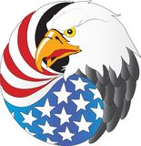 Eagle. Vector illustration of Eagle with wing like a American flag Royalty Free Stock Photography