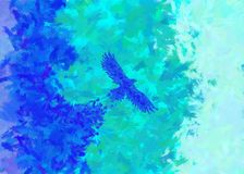 The beginning of the eagle. Eagle abstract. oil painting of a flying eagle with blue and turquoise color stock illustration