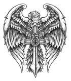 Eagle altamente detalhado com espada ilustração stock