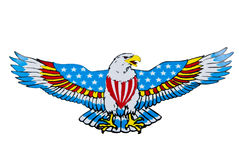 Eagle with America flag and clipping path Stock Images