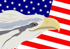 Eagle and American flag Stock Photo