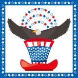 Eagle and american hat patriotic symbol. Vector illustration Royalty Free Stock Photo