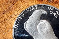 Eagle on american silver coin Stock Photo