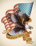 Eagle-ande gammal-skola tatuering Fotografering för Bildbyråer