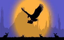 Eagle attack rabbits Royalty Free Stock Photo