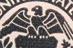 Eagle auf Banknote des Dollars USA, Makro Stockbilder