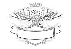 Eagle auf Schild mit Fahnen-Emblem Stockfotografie